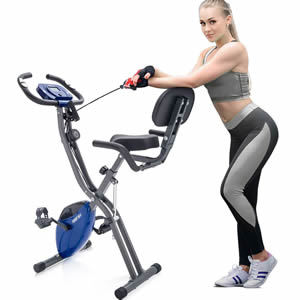 Merax 3 in 1 Adjustable Folding Exercise Bike Convertible Magnetic Upright Recumbent Bike