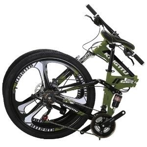 Kingttu EURG6 Mountain Bike 26 Inches 3 Spoke Wheels Dual Suspension Folding Bike 21